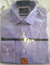 "M&S Mens Lilac & White Check Non-Iron Tailored Pure Cotton Shirt 14.5"" BNWT"