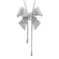 Hot Ladies Fashion Crystal Bow Knot Long Pendant Necklace Rhinestone Chain
