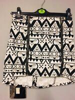 Miss Selfridge White/Black Print Zip Front Skirt Size 10