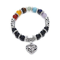 Herz Anhänger Chakra Armband Naturstein Bettelarmband XJ