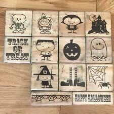 Halloween Wood Mounted Rubber Stamp Set Craft smart Ghost Witch Skeleton Trick