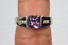 14k White Gold 1.05 ct Amethyst & Diamond Cocktail Ring Princess Purple Size 7