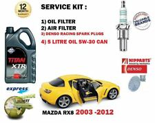 FOR MAZDA RX8 1.3 13B 2003-> SPARK PLUGS & OIL AIR FILTER + 5LTR OIL SERVICE KIT
