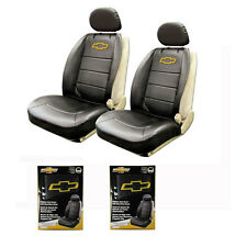 New Chevy Bowtie Elite Black Synthetic Leather Side Air bag Ready Seat Covers
