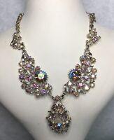 1950s Style Bib Necklace Aurora Borealis Glass Link Setting Jewellery Jewelry