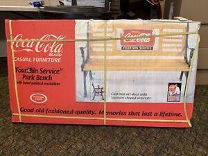 Vintage Coca Cola Park Bench Cast Iron Drink COKE FOUNTAIN SERVICE NEW IN BOX