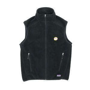 "Patagonia Synchilla Men Small 39"" Lays Potato Chips Full Zip Vest Black Fleece"