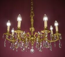 HEAVY CRYSTAL BRASS CHANDELIER CEILING LAMP OLD FIXTURES 8 LIGHT USED LUSTRE