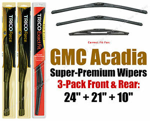 Hi-Performance Wipers 3pk Front + Rear fit 2007-12 GMC Acadia - 25240/210/10E