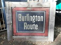 Old vintage Burlington Route railroad metal train sign