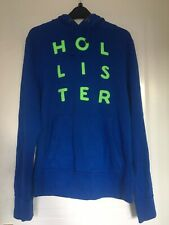 Mens Hollister Blue Hoodie with Green Logo - Size M