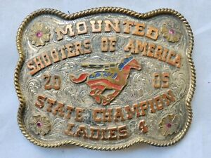 TROPHY BUCKLE Mounted Shooters of America *LADIES STATE CHAMPION* Belt 2005