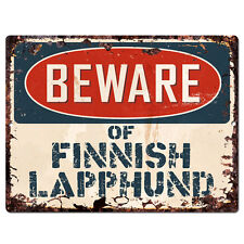 Ppdg0106 Beware of Finnish Lapphund Plate Rustic Tin Chic Sign Decor Gift