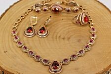 925 Sterling Silver Handmade Ruby Turkish Ring Earring,Bracelet,Pendant Set