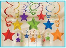 30 Multicolor Shooting Star Swirl Decorations Graduation Birthday Party Supplies