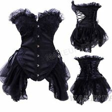 USPS Black Underbust Corset Basque Top Lace up Gothic Bustier Burlesque G-String