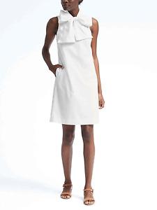 BANANA REPUBLIC  WOMEN'S 783142 WHTIE  BOW NECK DRESS r4669 $99.00 NWT  2