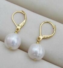 Exquisite AAA++ 10.5-10mm South Sea White Baroque Pearl Earrings  14K