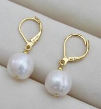 huge AAA++ 10.5-10mm South Sea White Baroque Pearl Earrings 14K YELLOW GOLD