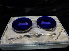 Webster Company Sterling Silver Salt Cellar With Cobalt Blue Insert Original Box