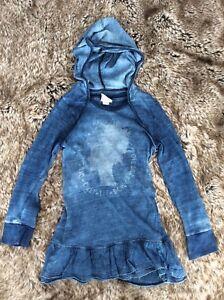 DIESEL Girl's Denim Effect Hooded Dress 4 Years