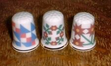 Set of 3 Classic Quilt Pattern Bone China Thimbles (Q2) New with Gold Trim