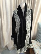 Anthropologie Guinevere Black Ivory Long Open Cardigan Sweater Coat Small EUC