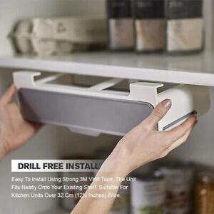 Wall-mounted Under-Shelf Spice Organizer Spice Bottle StorageRack Kitchen Suppl^