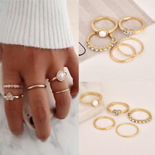 5Pcs/Set Women Crystal Pearl Above Knuckle Fashion Finger Ring Band Midi Rings