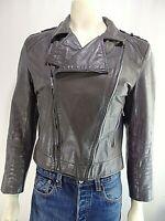 RARE Vintage 90's JAY JACOBS Gray Leather 42 Moto Jacket Biker Zippers Pockets