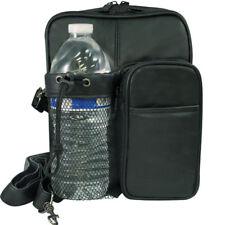 Black Leather Cross Body Bag Messenger Mens Travel Organizer Bottle Holder