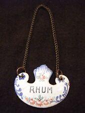 Etiquette de col à carafe en cuivre émaillé XIX ème siècle Rhum Decanter Ticket