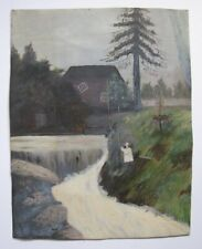 FOLK ART PAINTING GRADUATION JUMPER OIL ON CANVAS SPOOKY HOUSE OLD MILL