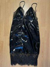 Sexy Kleid Abendkleid Lackleder Look Schwarz Neu Gr. M/38