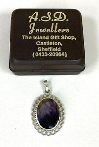 Vintage Blue John Sterling Silver Frill Edge Pendant A.S.D. Jewellers Castleton