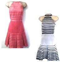 New KAREN MILLEN Halterneck Ribbon Silk Dress Size 8 coral Pink or Black