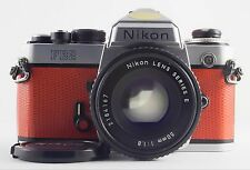 NIKON FE2 35mm FILM SLR CUSTOM ORANGE WITH  50mm F/1.8 LENS OUTFIT