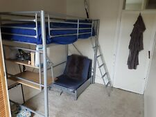 SINGLE HIGH SLEEPER CABIN LOFT BUNK BED WITH DESK AND FUTON