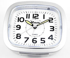 Ravel Silver Bold Numbers Alarm Clock Beep Crescendo Snooze Silent Sweep & Light