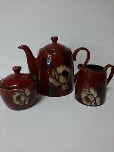Mug Republic Brown Ceramic Tea Pot milk jug and Sugar bowl set