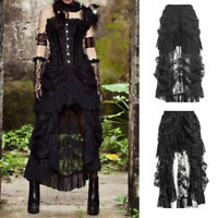 Women Retro Victorian Lace Up Steampunk Gothic Goth Punk Long Skirt Ruffle Dress