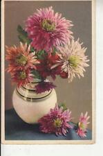 R29. Vintage Postcard. Flowers. Vase of Chrysanthemums.
