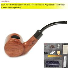 MUXIANG Smoking Pipe Bent kevazingo wood rosewood Tobacco Handmade Cigarette 03