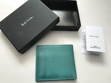 Paul Smith Mens Green 8 CC Bifold Wallet with Coin Pouch - Boxed