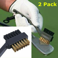 Golf Club Cleaner Brush 2 Pcs Groove Cleaning Dual Sided Bristles W/ Snap Clip