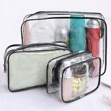Cosmetic Makeup Clear Toiletry PVC Travel Wash Bag Holder Pouch Kit Set Of 3Pcs