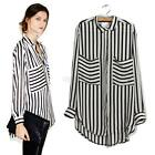 OL Womens Long Sleeve Chiffon Striped Lapel T-shirt Slim Tops Blouse S M L