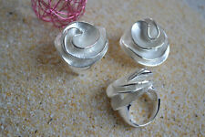 Edelstahl Ring kreative Art Form Silber  Weiß Emaille Bandring ME 366