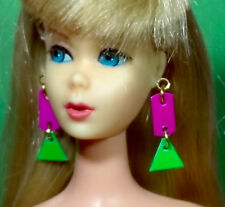 Dreamz SWIRLY CUE Q EARRINGS Pink Green Doll Jewelry VINTAGE REPRO for Barbie