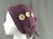 Plum Purple beret knit button slouchy baggy tam hat cap beanie crochet warm